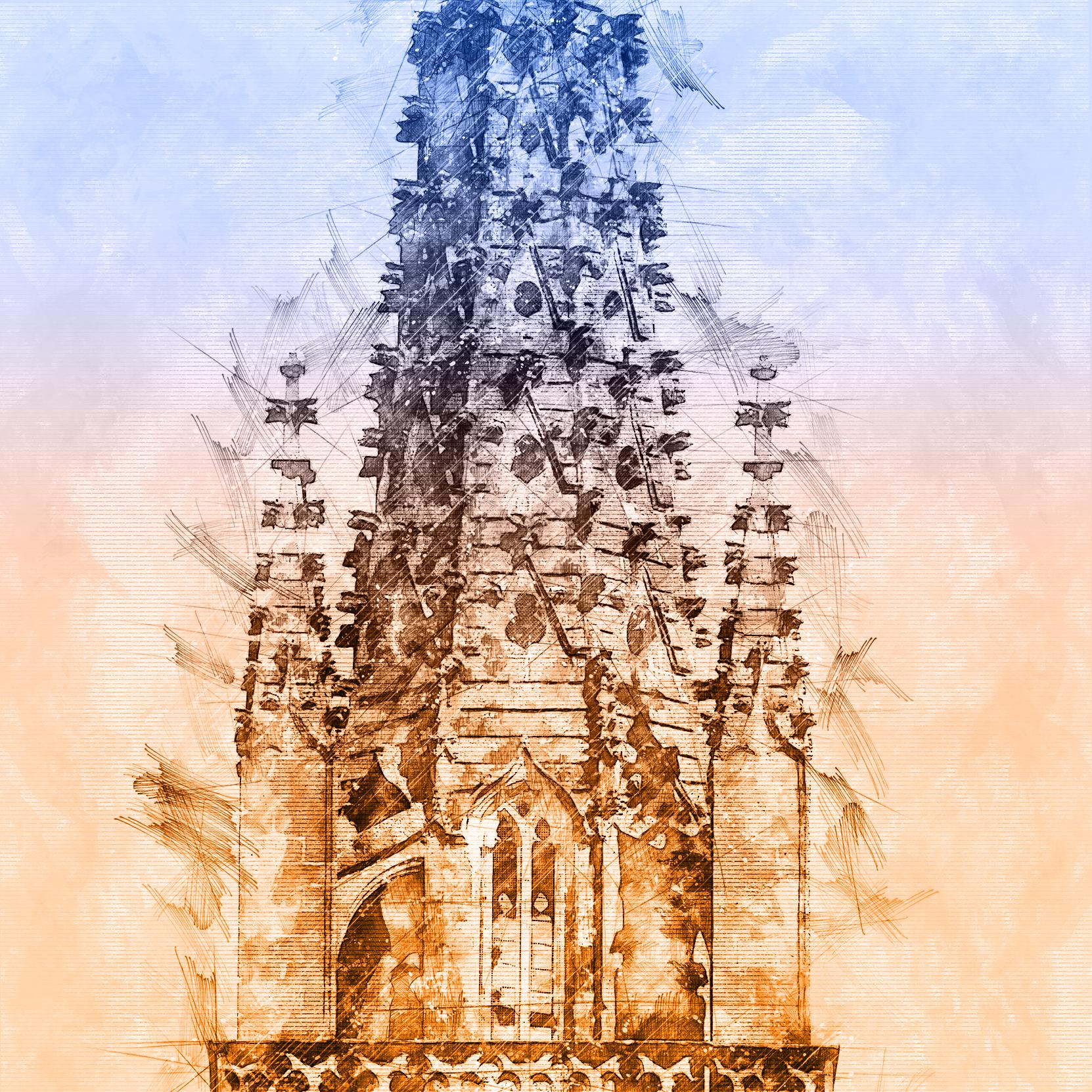 Tourelle de la flèche de la Cathédrale Saint-Jean_Baptiste de Bazas