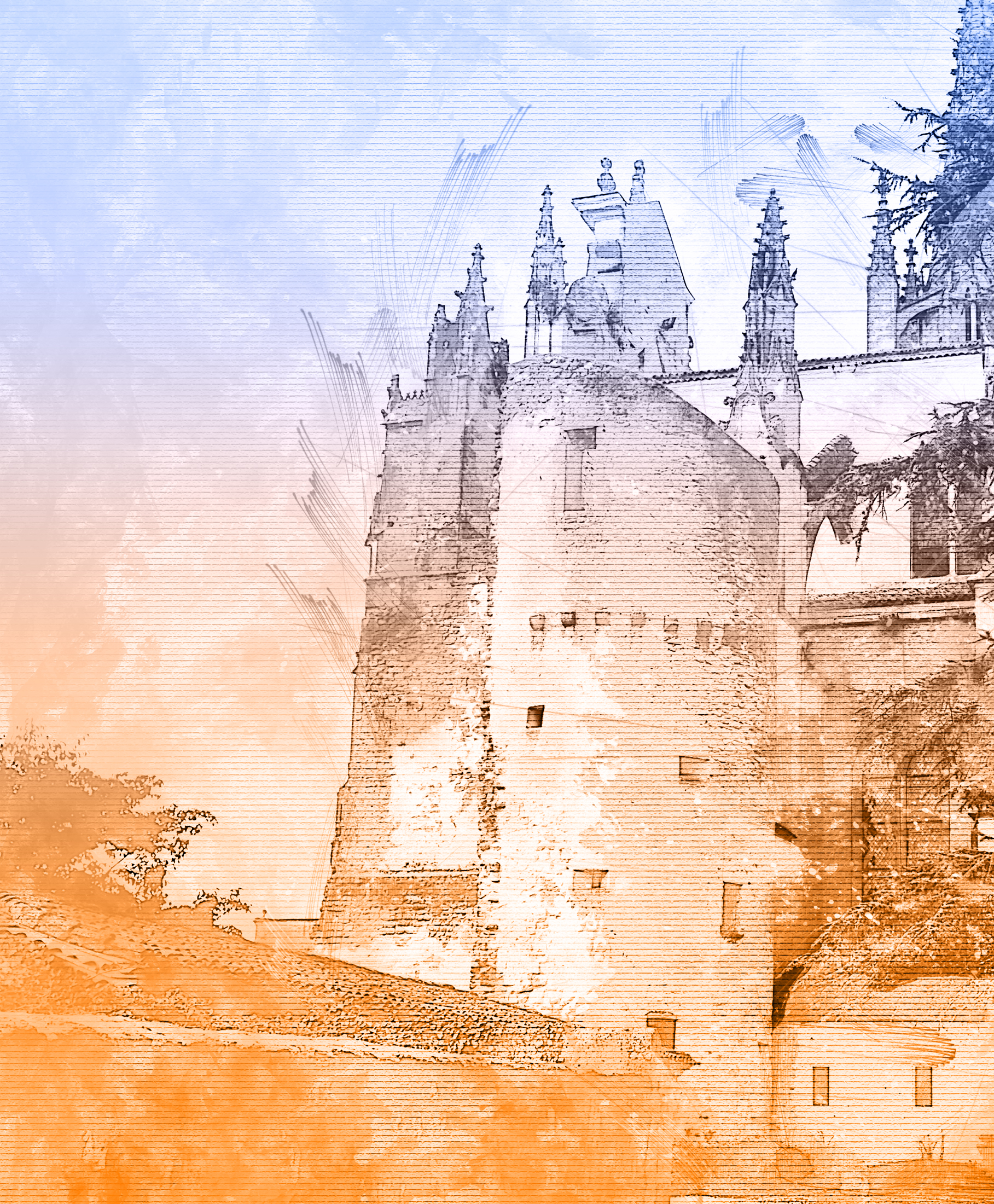 Dessin de la tour latérale de la Cathédrale de Bazas